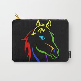 Rainbow Horse Outline Black Background Carry-All Pouch