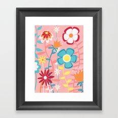 Flowers on Pink Framed Art Print