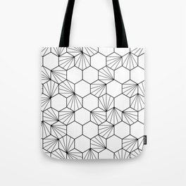 Peacock comb black white geometric pattern Tote Bag