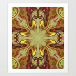 Groovy, Retro, Green and Brown Swirl Design Art Print
