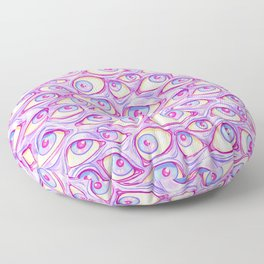 Wall of Eyes in Purple Floor Pillow