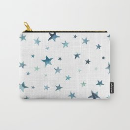 Teal Stars Carry-All Pouch