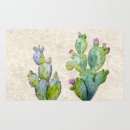 Water Color Prickly Pear Cactus Adobe Background Rug