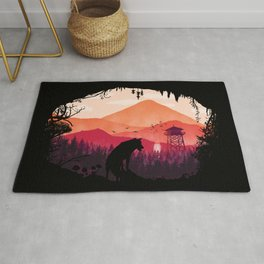 Lonely Wolf in The Cave Rug