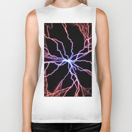 Electrical Lightning Discharge Blue to Red Biker Tank