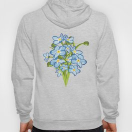 Spring Bouquet of Blue Myosotis Hoody
