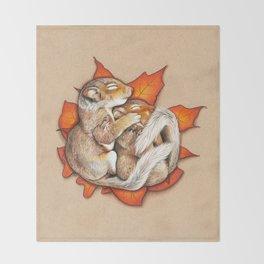 Autumn Squirrels Throw Blanket