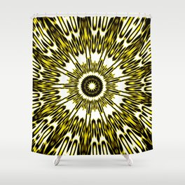 Yellow White Black Sun Explosion Shower Curtain