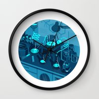 lab Wall Clocks featuring The Lab by Jason Solo