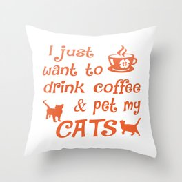 Coffee & Cats Throw Pillow