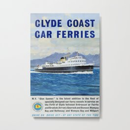 Glyde Coast Car Ferrys Vintage Travel Poster Metal Print