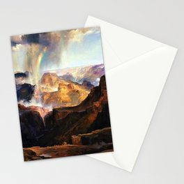 The Chasm of the Colorado, Windswept Rain Storm, Grand Canyon landscape by Thomas Moran Stationery Cards