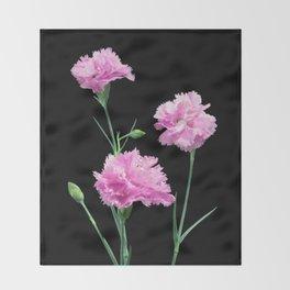 Pinks on Black Throw Blanket