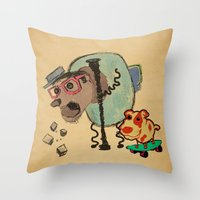 doge Throw Pillows featuring Doge Doge woof woof by creativeleo
