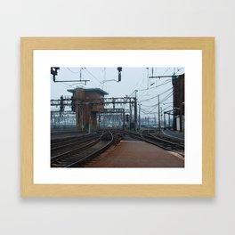 platforms end and signal tower Framed Art Print