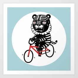 Black Tiger and Bicycle (It's hard to pedal because his legs are not long enough) Art Print