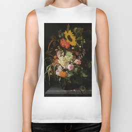 """Maria van Oosterwijck """"Still life of roses, carnations, marigolds and other flowers with a sunflower Biker Tank"""