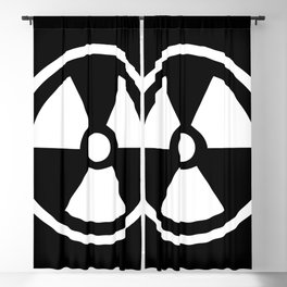 Black and White Radioactive Symbol Blackout Curtain