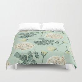 Rose Pattern Cream + Mint Green Duvet Cover
