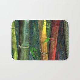 Colorful bamboo painting with gouache Bath Mat