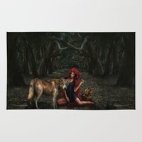 red riding hood Area & Throw Rugs featuring Red Riding Hood by Viggart