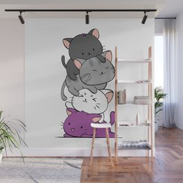 Asexual Pride Cats Anime - Ace Pride Cute Kitten Stack Wall Mural