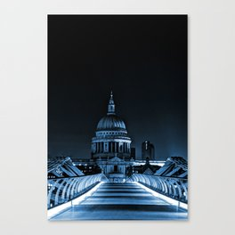 St.Paul's Cathedral coloured blue. Canvas Print