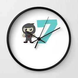 Birthday Ninja 7th Party Samurai Ninjas Gift Japanese Ninja stars Fighter Gift Wall Clock