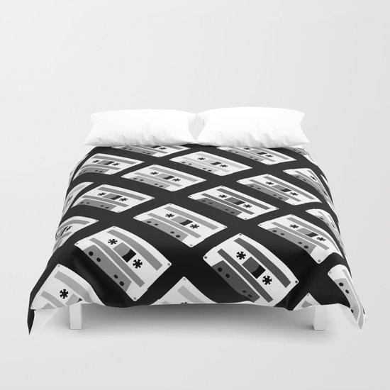 Black and White Tapes 45 Duvet Cover