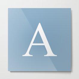 Letter A sign on placid blue color background Metal Print