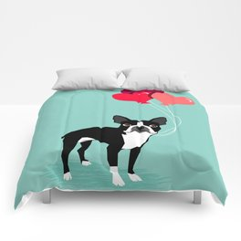 Boston Terrier Valentine heart balloons for pet owners and dog lovers gift for someone they love Comforters