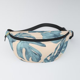 Island Vacay Hibiscus Palm Pale Coral Teal Blue Fanny Pack