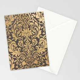 Gold swirls damask #9 Stationery Cards