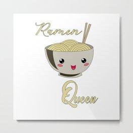 Ramen Queen Japanese Noodles Vintage Retro Style Metal Print