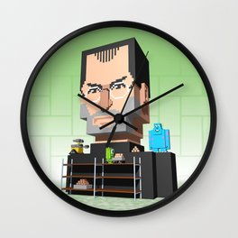 Steve Jobs 3D pixel portrait Wall Clock