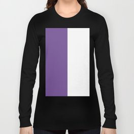 White and Dark Lavender Violet Vertical Halves Long Sleeve T-shirt