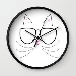 Nerdy Kitty Wall Clock