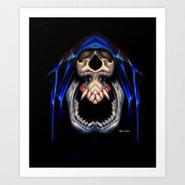 Blue Caped Skull Art Print