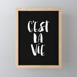 C'est La Vie black and white watercolor typography wall art home decor handwritten bedroom art inspo Framed Mini Art Print