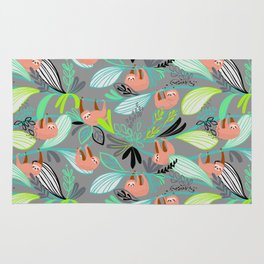 Bright jungle sloths Rug