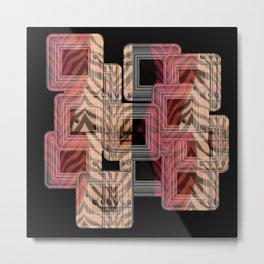 Zebra Guitar Collage Metal Print