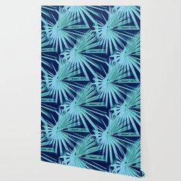 Aqua on Blue Tropical Vibes Beach Palmtree Vector Wallpaper