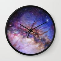 milky way Wall Clocks featuring Milky Way by Trisha Thompson Adams