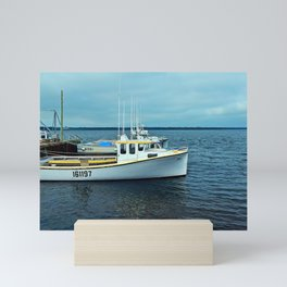 Boats in a Row, not to be confused with row boats Mini Art Print