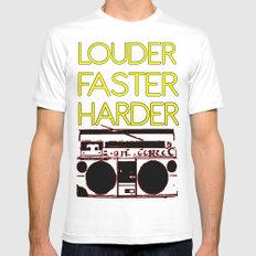 LOUDER White Mens Fitted Tee MEDIUM