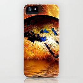 Planet Earth - Globe Photograph - Gold Sky iPhone Case