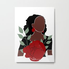 Black woman with Roses art, Black Woman Illustration, Female Portrait Print, Modern art, Black Girl Wall Art,African woman Art,African american Metal Print