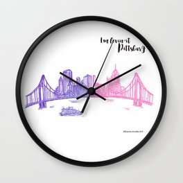 Ink Sketch Pittsburgh Skyline Wall Clock