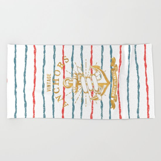 Maritime Design- Nautic Vintage Anchor on stripes in blue and red #Society6 Beach Towel