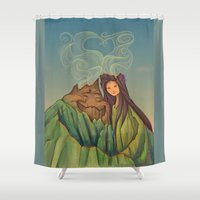 hallion Shower Curtains featuring Volcano Love by Karen Hallion Illustrations